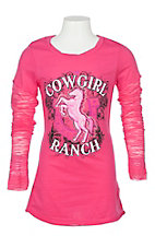 Cowgirl Hardware Girls' Hot Pink Cowgirl Ranch Long Sleeve T-Shirt