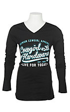 Cowgirl Hardware Girls' Black Branded Long Sleeve T-Shirt