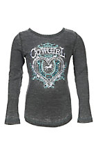 Cowgirl Hardware Girl's Grey with Horseshoe Embroidery Long Sleeve Waffle Knit Tee