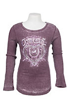 Cowgirl Hardware Girl's Eggplant with White Cowgirl Embroidery Long Sleeve Waffle Knit Tee