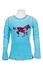 Cowgirl Hardware Girl's Turquoise with Pink Mermaid Sequin Horse Long Sleeve Tee