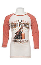Cowgirl Hardware Girls Rhinestone Barrel Racer Basic Raglan Tee