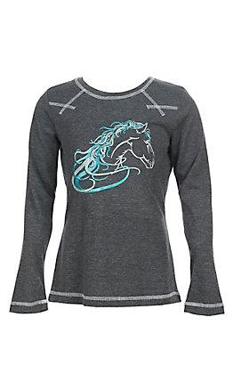 Cowgirl Hardware Girls Beautiful Long Sleeve Heather Grey T-Shirt