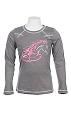 Cowgirl Hardware Girls Beautiful Long Sleeve Heather Grey T-Shirt