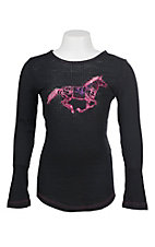 Cowgirl Hardware Girl's Black with Pink Horse Embroidery Long Sleeve Waffle Knit Tee