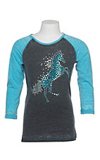 Cowgirl Hardware Girls Rhinestone Fire Horse Basic Raglan Tee