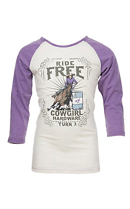Cowgirl Hardware Girls Rhinestone Barrel Racer Basic Raglan Tee