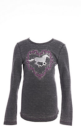 Cowgirl Hardware Infant Girl's Horse Acid Wash Heather Black Long Sleeve Waffle T-Shirt