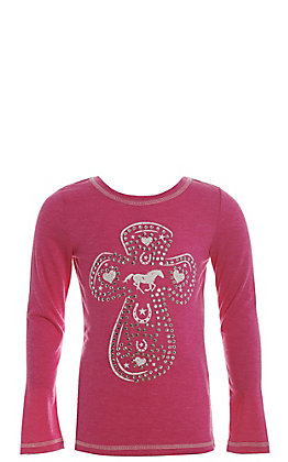 Cowgirl Hardware Girls' Hot Pink with Western Cross and Crystals Long Sleeve Tee