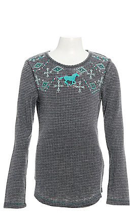 Cowgirl Hardware Girls' Grey with Turquoise Aztec Horse Waffle Knit Long Sleeve Tee