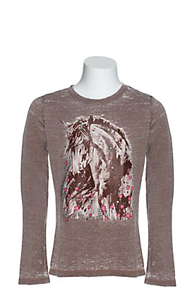 Cowgirl Hardware Girls' Heather Brown Watercolor Horse Graphic Long Sleeve Tee