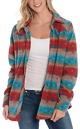 Outback Trading Co. Women's Red & Turquoise Aztec Print Fleece Shirt Jacket