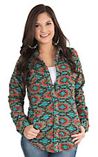 Outback Trading Company Women's Turquoise and Coral Native Print Long Sleeve Fleece Jacket