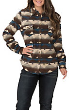 Outback Trading Company Women's Essence Cream, Brown and Blue Aztec Print Long Sleeve Fleece Shirt Jacket