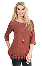 Southern Grace Women's Rust with Lace Details 3/4 Sleeve Casual Knit Top