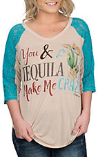 Southern Grace Cream & Turquoise You & Tequila 3/4 Lace Sleeve Casual Knit Shirt