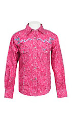 Cowgirl Hardware Girl's Pink and Blue Paisley Print with Turquoise Embroidered Rhinestone Yokes Long Sleeve Western Shirt