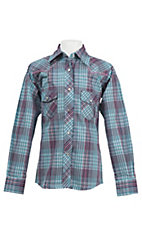 Cowgirl Hardware Girl's Turquoise & Purple Plaid with Embroidered Horse Long Sleeve Western Shirt