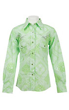 Cowgirl Hardware Girl's Lime Bandana Print Long Sleeve Western Shirt