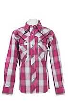 Cowgirl Hardware Girl's Pink Plaid with Arrow Embroidery Long Sleeve Western Shirt