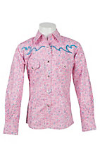 Cowgirl Hardware Girl's Pink & Blue Paisley Print Long Sleeve Western Shirt