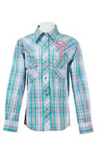 Cowgirl Hardware Girl's Turquoise Multicolor Plaid with Pink Winged Cross Long Sleeve Western Shirt