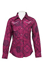 Cowgirl Hardware Girl's Pink and Plum Bandana Print with Pink Embroidery and Rhinestones Long Sleeve Western Snap Shirt