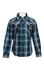 Cowgirl Hardware Girl's Turquoise, Black, and White Plaid with Pink Embroidery Long Sleeve Western Snap Shirt