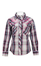 Cowgirl Hardware Girl's Pink, Purple, Black, and Grey with Pink Embroidery Long Sleeve Western Shirt