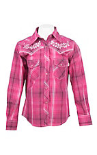Cowgirl Hardware Girl's Pink and White Plaid with Pink Floral Embroidery Long Sleeve Western Shirt