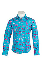 Cowgirl Hardware Girl's Blue Horse Print Long Sleeve Western Snap Shirt