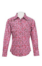 Cowgirl Hardware Girl's Pink Paisley Print Long Sleeve Western Snap Shirt