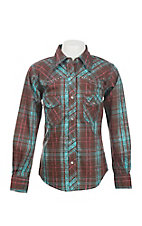 Cowgirl Hardware Girl's Brown and Turquoise Plaid Long Sleeve Western Snap Shirt