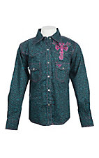 Cowgirl Hardware Girls Teal Embroidered Wing Cross L/S Western Snap Shirt