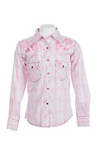 Cowgirl Hardware Girl's Pink Plaid with Floral Embroidery Long Sleeve Western Snap Shirt