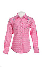 Cowgirl Hardware Girl's Pink Diamond Print Long Sleeve Western Snap Shirt