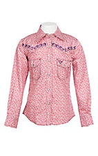 Cowgirl Hardware Girls Pink Mini Paisley Print w/ Purple Embroidery