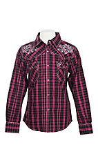 Cowgirl Hardware Girl's Pink and Black Plaid Tonal Heart Western Shirt