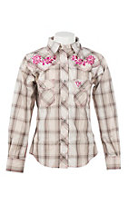 Cowgirl Hardware Girl's Cream & Brown Plaid w/ Rose Embroidery L/S Western Shirt