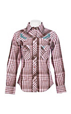 Cowgirl Hardware Girl's Pink & Brown Faded Plaid w/ Blue Roses Long Sleeve Western Shirt