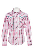 Cowgirl Hardware Girls Pink Plaid and Vine Trim L/S Western Snap Shirt