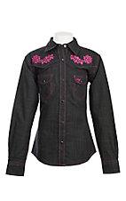 Cowgirl Hardware Girl's Black Burlap with Pink Floral and Stitching Western Shirt