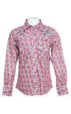 Cowgirl Hardware Girls Pink Bubble Print with Horseshoe Embroidery L/S Western Snap Shirt