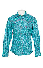 Cowgirl Hardware Girls Turquoise Bubble Print with Horse Embroidery L/S Western Snap Shirt
