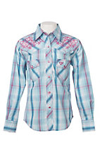 Cowgirl Hardware Girls Turquoise Plaid w/ Pink Embroidery L/S Western Snap Shirt