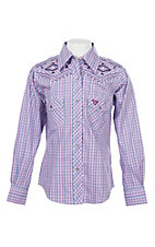 Cowgirl Hardware Girls Purple Plaid w/ Embroidery L/S Western Snap Shirt