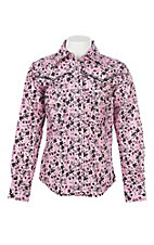 Cowgirl Hardware Girls Pink Country Floral L/S Western Snap Shirt