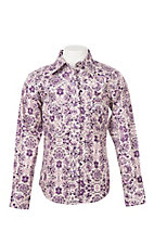 Cowgirl Hardware Girls Purple Peacock Paisley L/S Western Snap Shirt