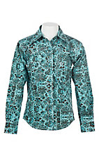 Cowgirl Hardware Women's Turquoise Peacock Paisley Print L/S Western Snap Shirt
