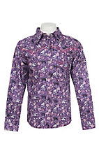 Cowgirl Hardware Girls Floral Eggplant Long Sleeve Rhinestone Snap Western Shirt